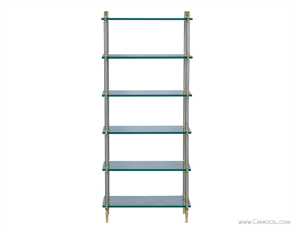 Brush glass and steel etagere in the style of maison jansen - Etagere faite maison ...