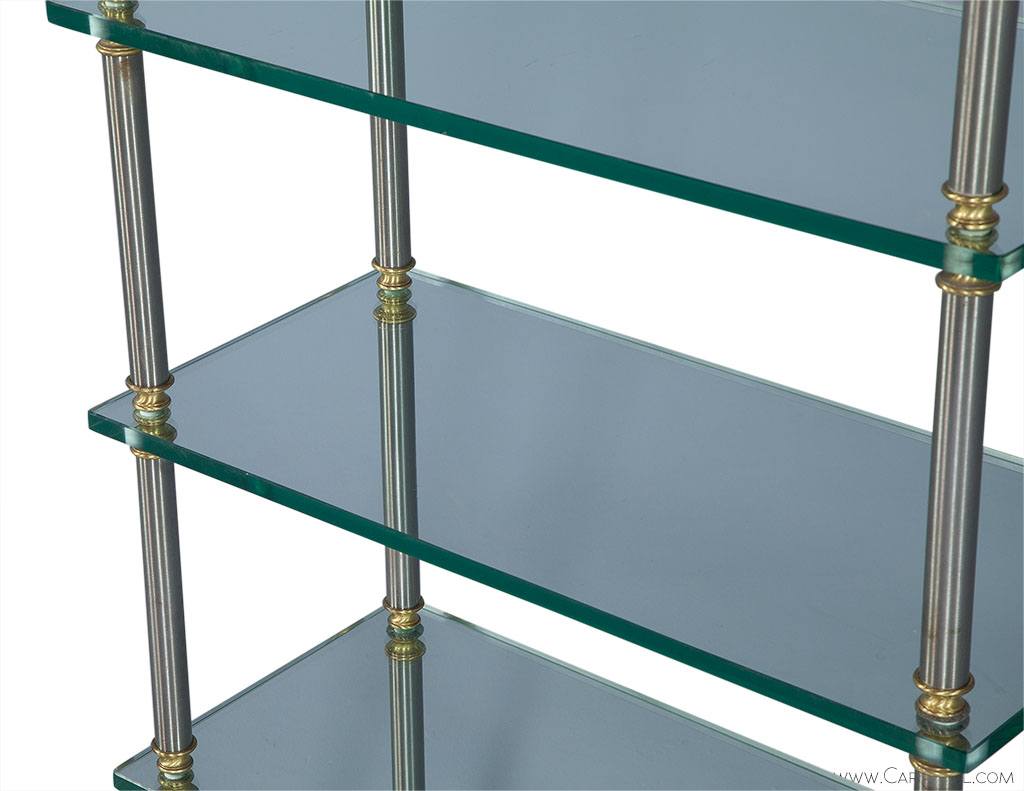 Brush Steel and Glass Etagere in the style of Maison Jansen