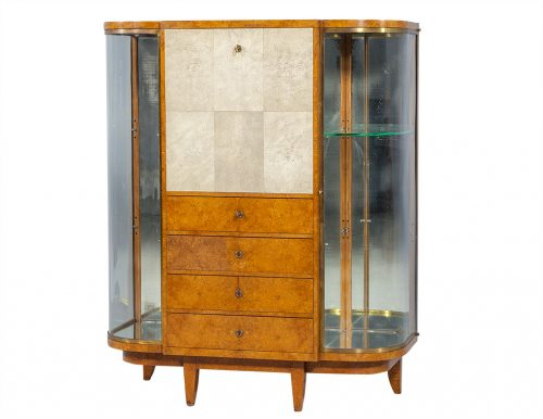 Art Deco Burl Sandalwood & Shagreen Display Cabinet Secretaire c 1935 by Jules Deroubaix