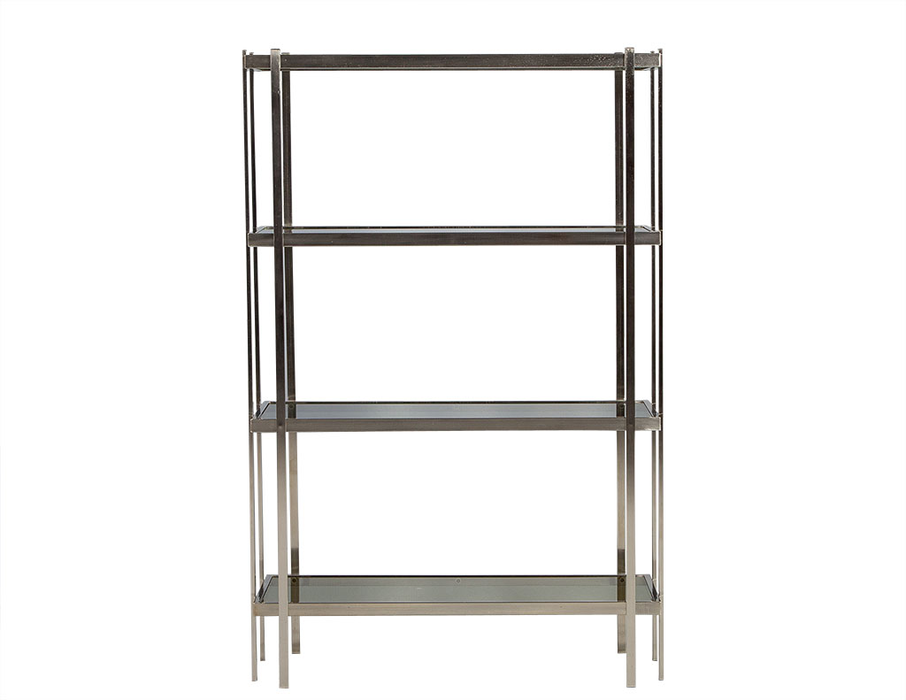mid century modern brushed nickel etagere with smoked glass shelves. Black Bedroom Furniture Sets. Home Design Ideas
