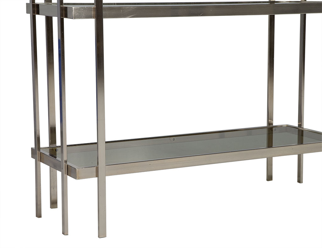 superior Brushed Nickel Etagere Part - 8: ... Mid Century Modern Brushed Nickel Etagere with Smoked Glass Shelves 5