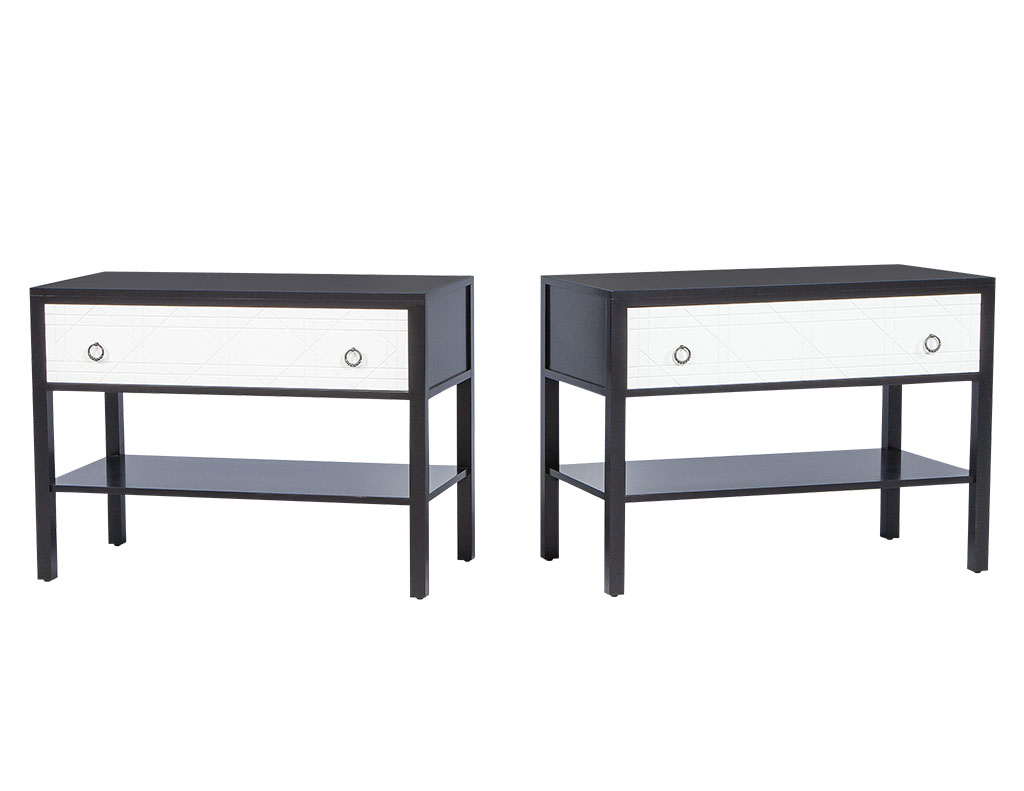 Pair of Geometric Facade Nightstands 1