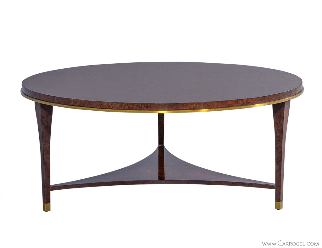 The crosby table round burled wood cocktail table for Cocktail tables round