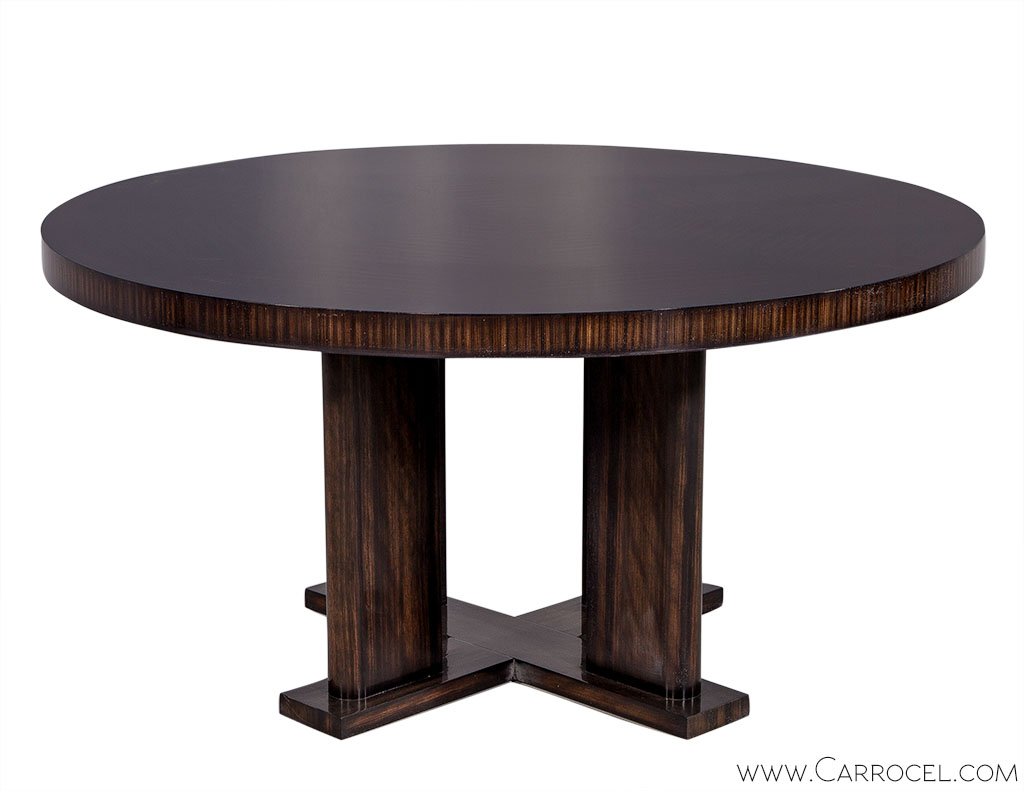 Custom modern round macassar dining table carrocel fine for Unique round dining tables