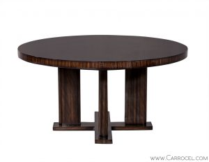 Custom Modern Round Macassar Dining Table