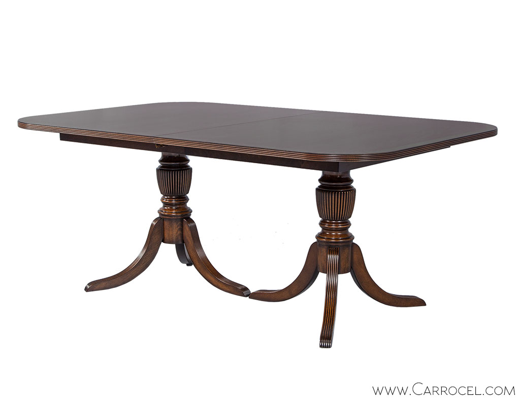 Carrocel Custom Flamed Mahogany Dining Table with Duncan Phyfe Style Pedestals