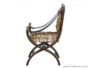 Faux Bamboo Zebra Accent Chair
