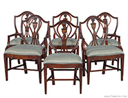 Set of 6 Antique Union National Mahogany Chairs Hepplewhite Design