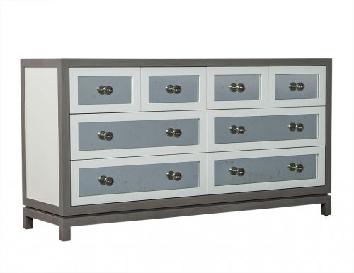 Custom Grey and White Eight Drawer Antique Mirrored Commode