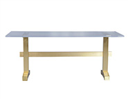 Dining Table with Acrylic Top on Brass Base