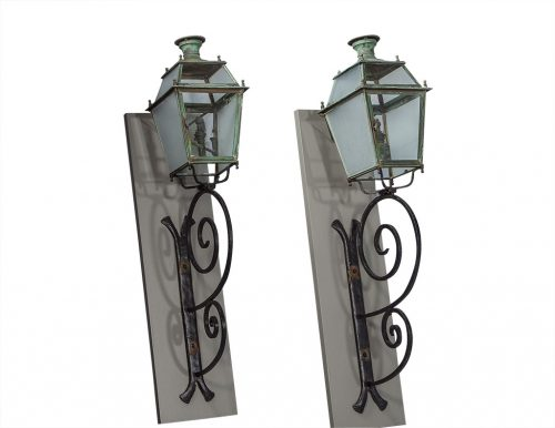 Pair of Victorian Style Iron and Glass Parisian Street Lanterns