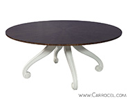 Round Feather Mahogany Starburst Dining Table