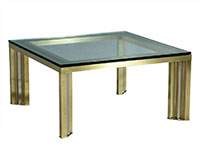 1970s Polished Chrome and Brass Cocktail Table