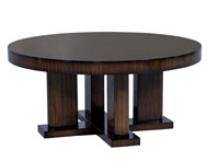 Custom Macassar Ebony Round Modern Cocktail Table