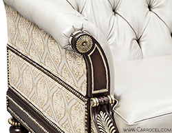 Carrocel Custom Leather Tufted Silver Leaf Carved Sofa