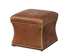 Rustic Storage Leather Ottoman