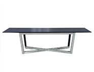 Vintage Hollywood Regency Black Lacquer Dining Table with Mirrored X-Base