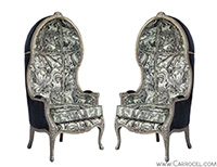 Pair of Carrocel Custom Louis XV Marbled Porter Chairs