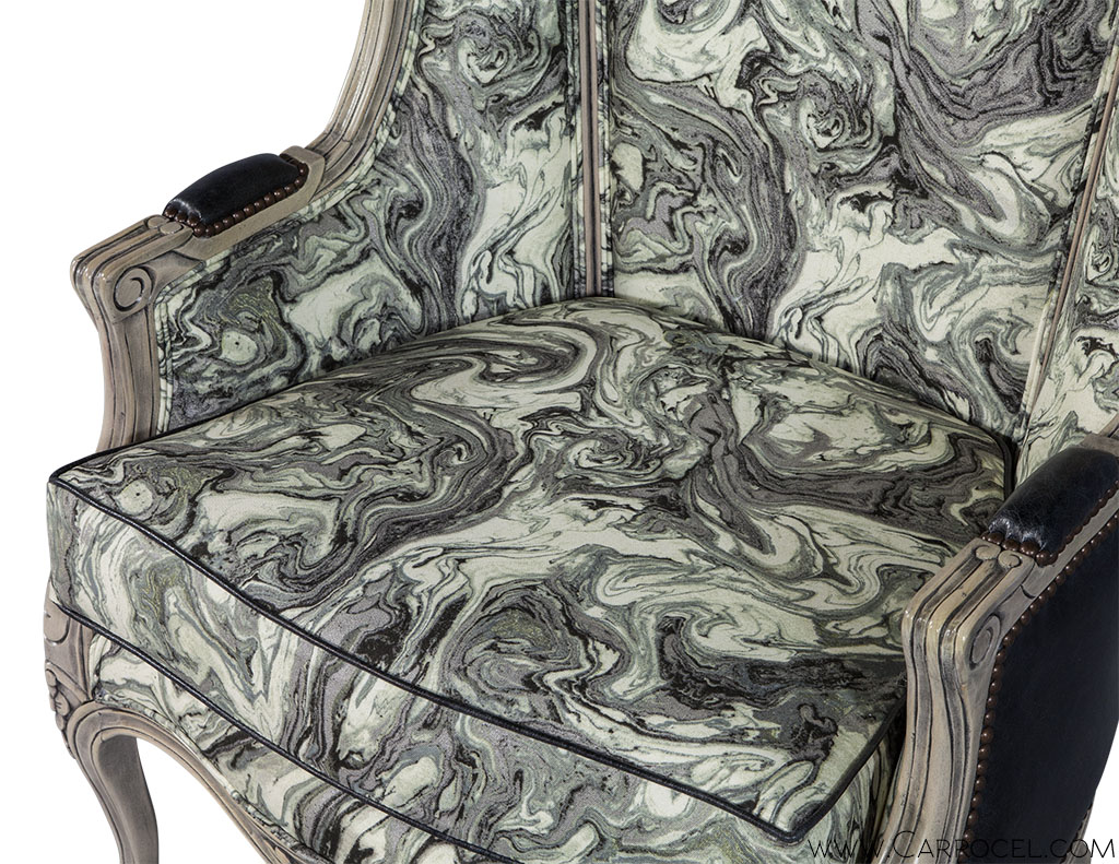 Pair Of Carrocel Custom-Louis XV Marbled Porter Chairs