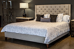 Bay Belgian Linen Tufted King Size Bed Bedroom