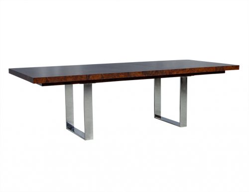 Modern Burled Walnut and Stainless Steel Dining Table