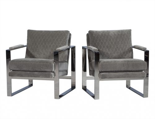 Grey Velvet and Stainless Steel Lounge Chair