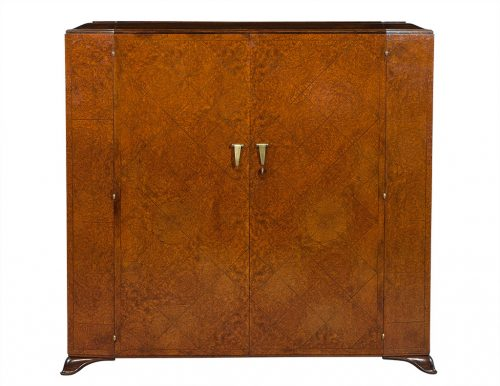French Art Deco Burled Walnut Armoire