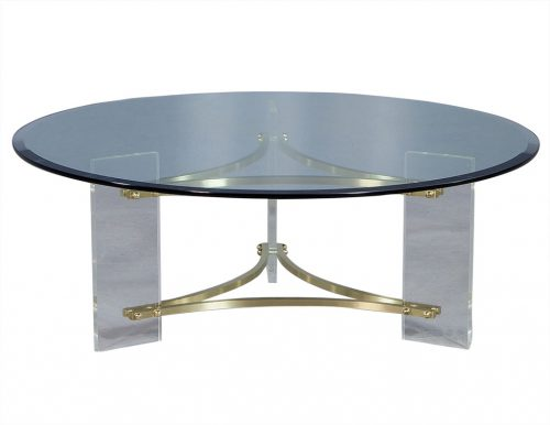 Hollywood Regency Style Round Glass Cocktail Table