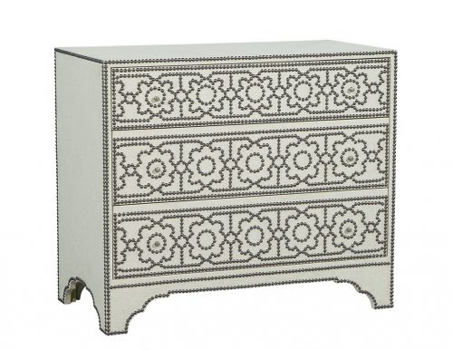 Modern Linen Wrapped Chest with Decorative Nail Trim