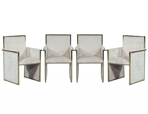 Set of Four Vintage Brass and Velvet  Arm Chairs