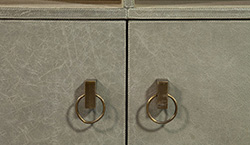 Pale Sage Distressed Faux Leather Covered Sideboard