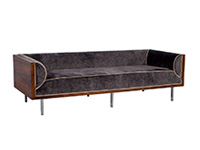 Vintage Rosewood and Velvet Milo Baughman-Sofa
