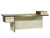Modern Brass and Parchment Writing Desk