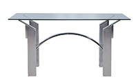 Modern Polished Nickel and Brushed Steel Table or Desk