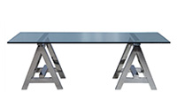 Sawhorse Glass Stainless Steel Dining Table