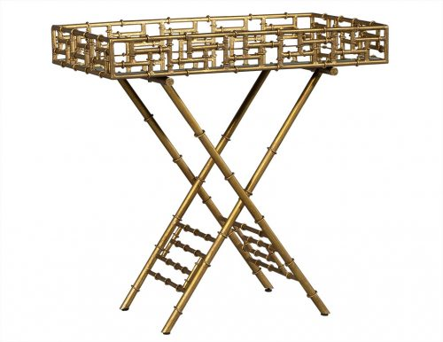 Gilded Faux Bamboo Accent Table