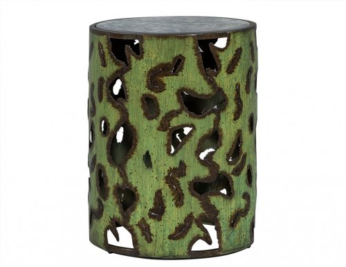 Distressed Metal Cylinder End Table
