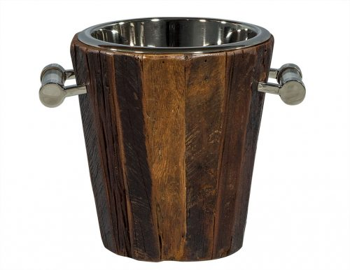 Small Rustic Wood and Stainless Steel Ice Bucket