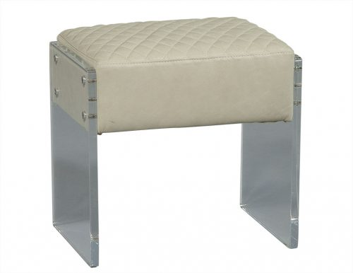 Quilted Leather and Lucite Stool