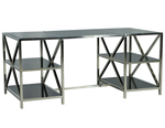 Modern Smoked Glass and Stainless Steel Desk