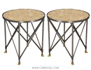 Pair of 20th Century Marble Top Neoclassical Gueridon Parlour End Tables
