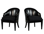 Pair of Black Leather Curved Back Club Chairs
