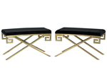 Pair of Black Velvet and Brass Greek Key Framed Stools
