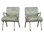 Pair of Boomerang Chairs in Mint Green Patterned Leather