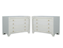 Pair of Concave Front Neoclassical Chests with White Marble Tops