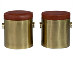 Pair of Cylindrical Brass and Leather Ottomans