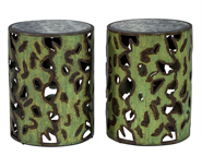 Pair of Distressed Metal Cylinder End Tables