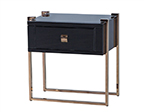 Black Glass Nightstand on Copper Legs
