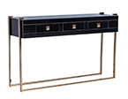 Black Glass and Copper Three Drawer Console