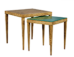 Burled Wood and Green Glass Nesting Tables